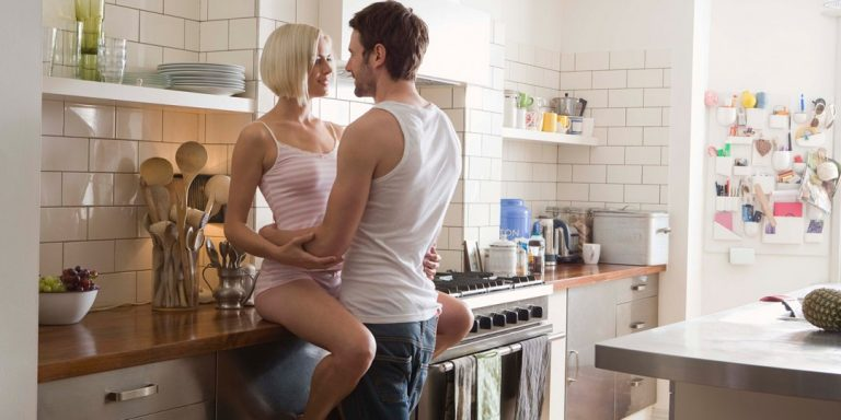 horny woman is masturbating in the kitchen before having sex  477820